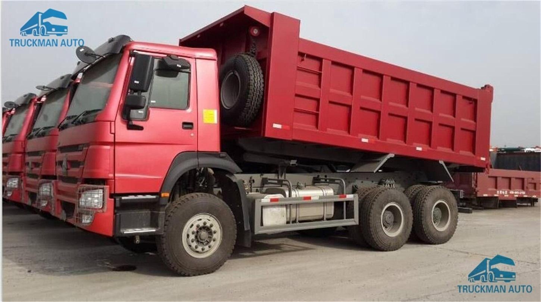 Red color HOWO 371/336/290/266HP 6x4 10 wheeler dump truck